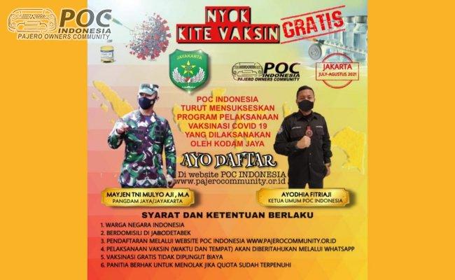 POC Indonesia turut mensukseskan Program Pelaksanaan Vaksinasi Covid-19 yang dilaksanakan oleh KODAM JAYA